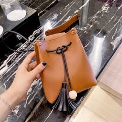 Lady bags Mini Tassel Bucket Bag Small Change Leisure Mobile Phone Bag Messenger Bag brown one size