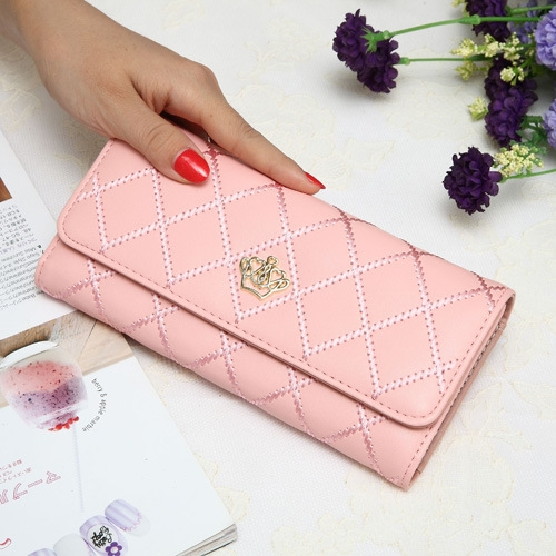 The New Fashion Lingge Metal Crown Ms Long Section Wallet Wallet pink one size