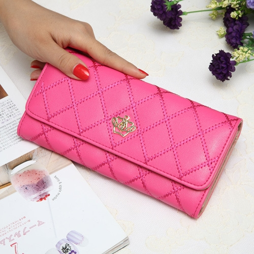 The New Fashion Lingge Metal Crown Ms Long Section Wallet Wallet watermelon red one size