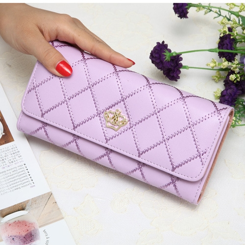 The New Fashion Lingge Metal Crown Ms Long Section Wallet Wallet ligth purple one size