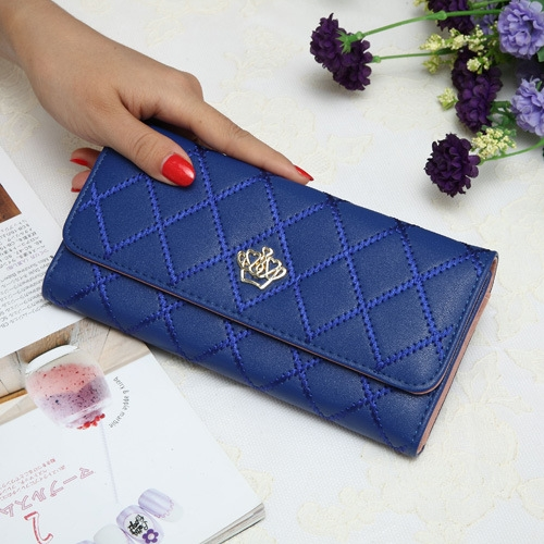 The New Fashion Lingge Metal Crown Ms Long Section Wallet Wallet blue one size