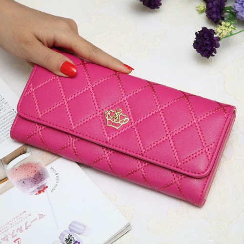 The New Fashion Lingge Metal Crown Ms Long Section Wallet Wallet rose red one size