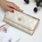 The New Fashion Lingge Metal Crown Ms Long Section Wallet Wallet Champagne Gold one size