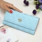 The New Fashion Lingge Metal Crown Ms Long Section Wallet Wallet ligth blue one size