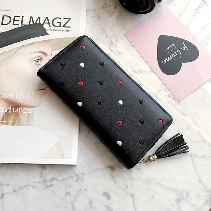 Simple Personality Ms Wallet Long Section Hand Bag Student Wallet Zipper Wallet Mobile Phone Bag black one size