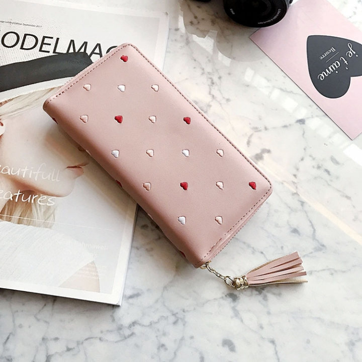 Simple Personality Ms Wallet Long Section Hand Bag Student Wallet Zipper Wallet Mobile Phone Bag pink one size