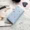 Simple Personality Ms Wallet Long Section Hand Bag Student Wallet Zipper Wallet Mobile Phone Bag blue one size