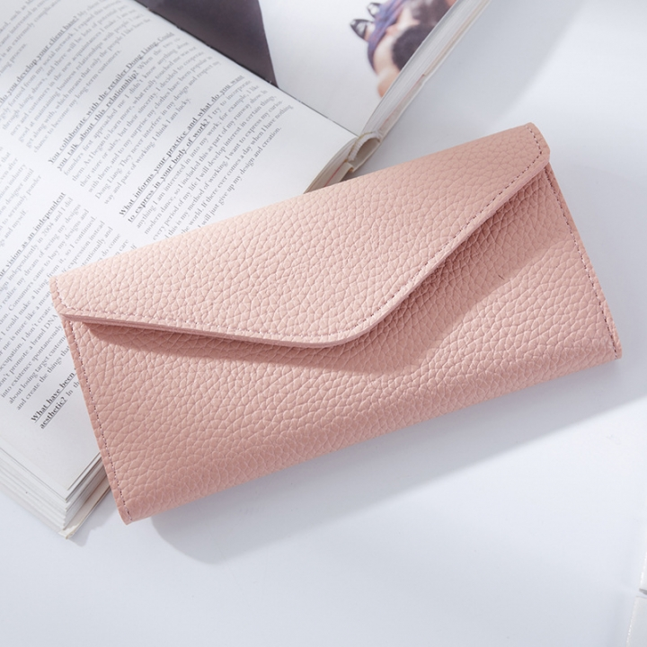 The New Thin Section Buckle 3 Fold Simple PU Wallet Litchi Pattern Envelope Wallet Bag pink one size