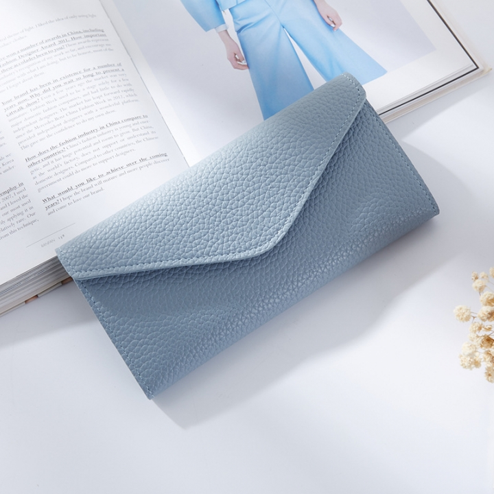 The New Thin Section Buckle 3 Fold Simple PU Wallet Litchi Pattern Envelope Wallet Bag blue one size