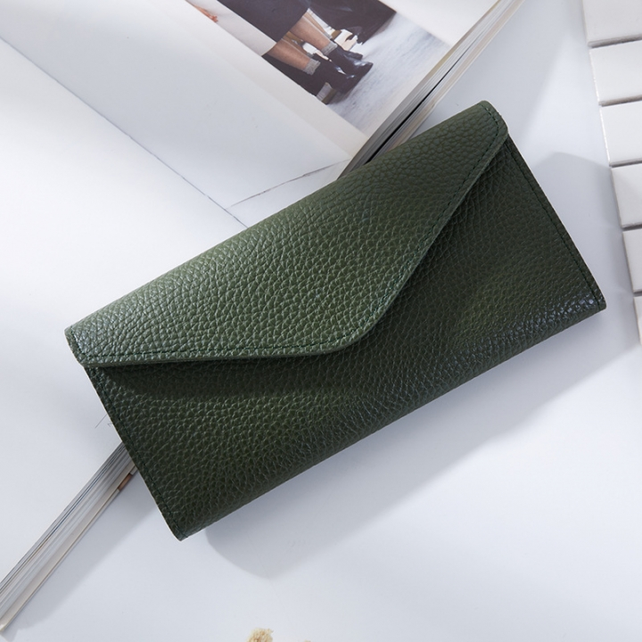 The New Thin Section Buckle 3 Fold Simple PU Wallet Litchi Pattern Envelope Wallet Bag green one size