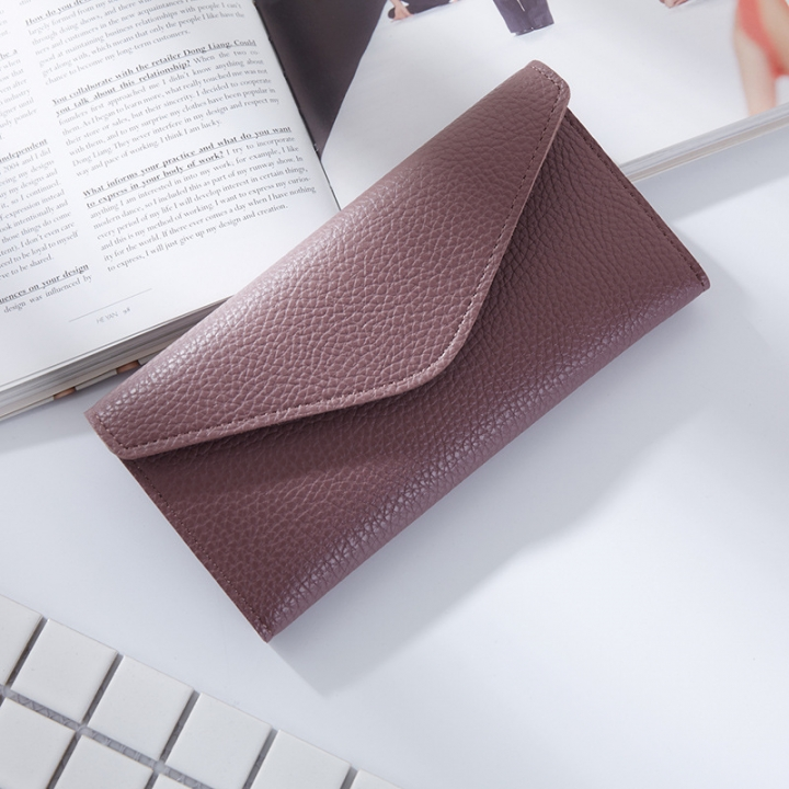 The New Thin Section Buckle 3 Fold Simple PU Wallet Litchi Pattern Envelope Wallet Bag purple one size