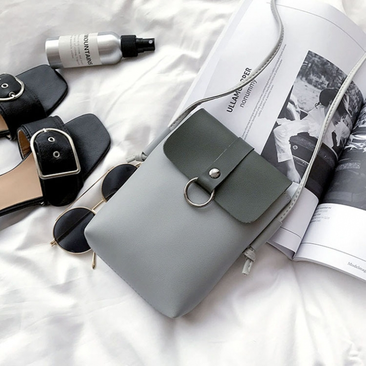 Mini Packet The New Mobile Phone Bag Small Square Bag Wild Shoulder Bags Messenger Bag gray one size