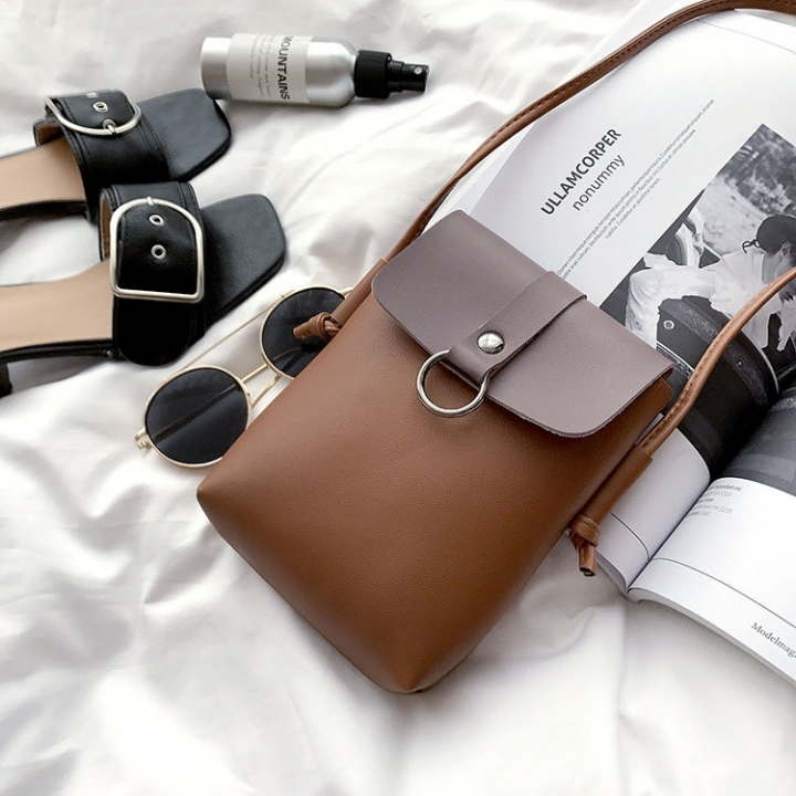 Mini Packet The New Mobile Phone Bag Small Square Bag Wild Shoulder Bags Messenger Bag brown one size
