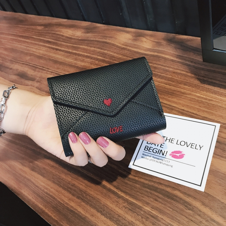 The New Short Section Love Small Wallet Female Student Embroidery Mini Small Change black one size