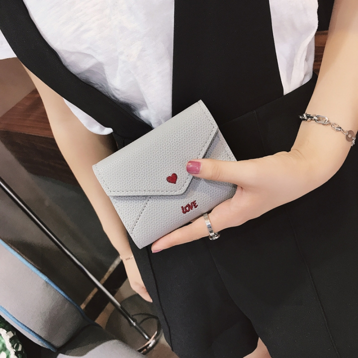 The New Short Section Love Small Wallet Female Student Embroidery Mini Small Change gray one size
