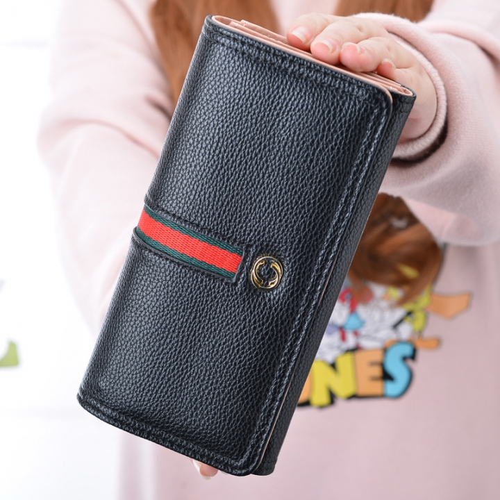 The New Wallet Ms Long Section Western Style Fashion High Capacity Buckle Soft Wallet Female Wallet black one size