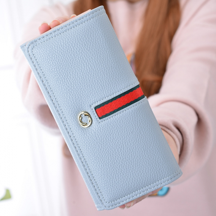 The New Wallet Ms Long Section Western Style Fashion High Capacity Buckle Soft Wallet Female Wallet Day gray blue one size