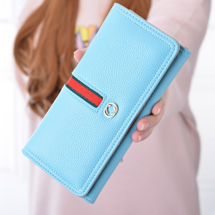 The New Wallet Ms Long Section Western Style Fashion High Capacity Buckle Soft Wallet Female Wallet Moonlight Blue one size