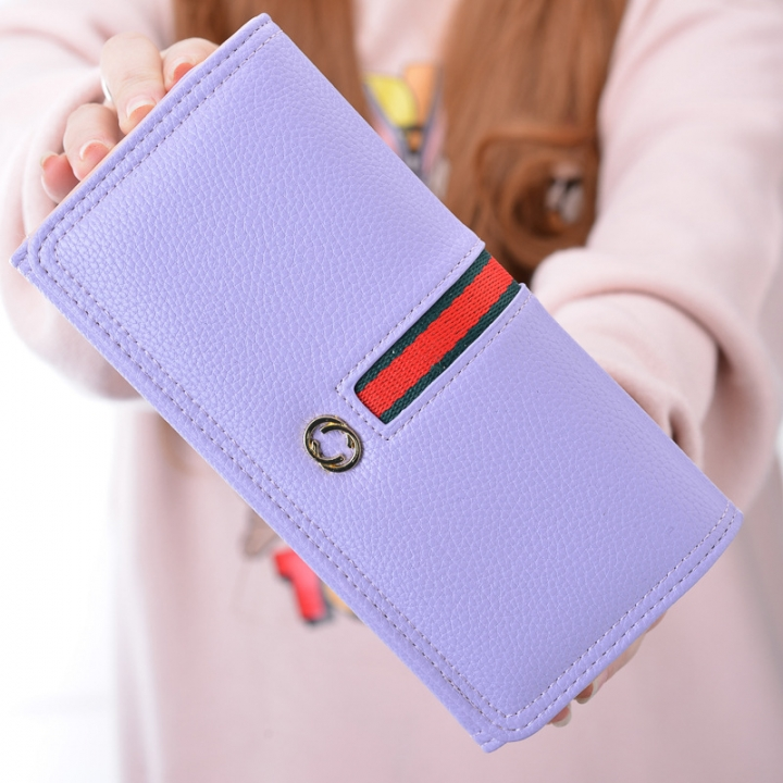 The New Wallet Ms Long Section Western Style Fashion High Capacity Buckle Soft Wallet Female Wallet Pink and purple one size