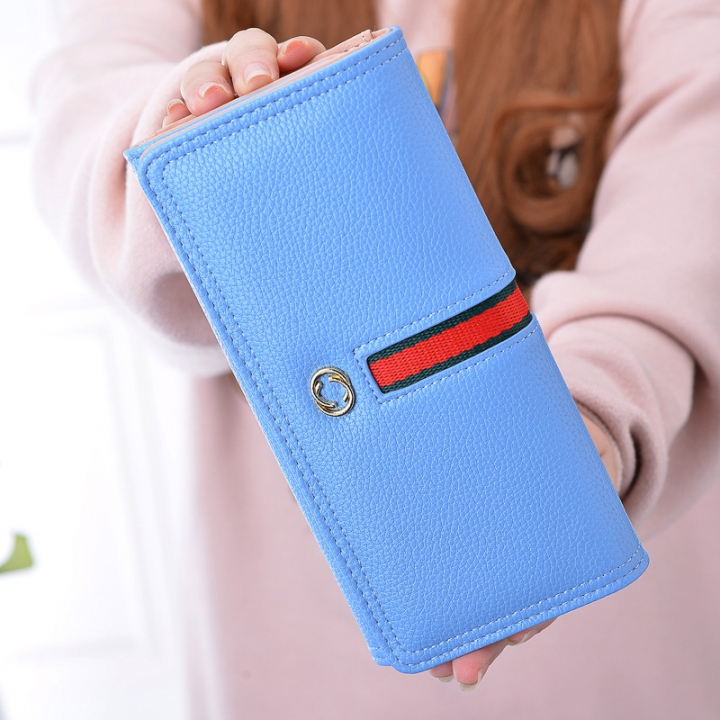 The New Wallet Ms Long Section Western Style Fashion High Capacity Buckle Soft Wallet Female Wallet Watercolor Blue one size
