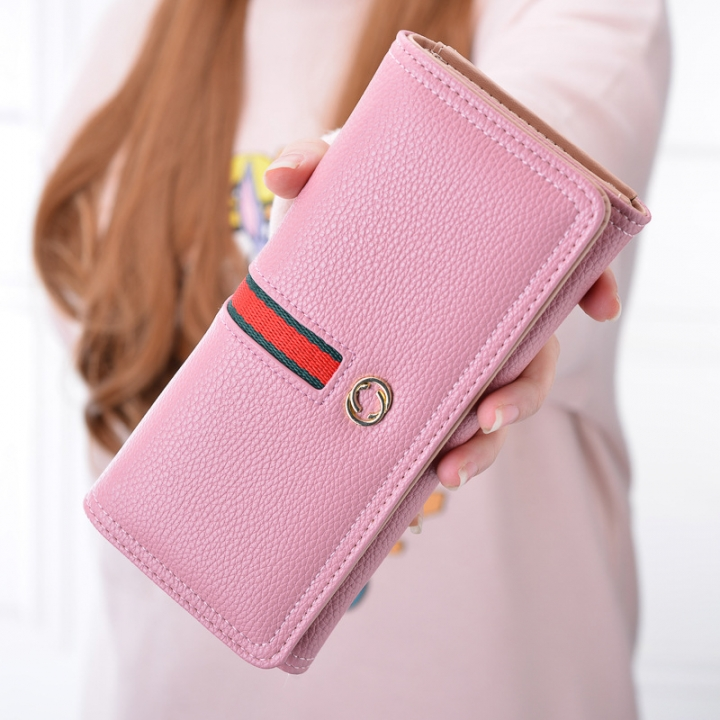The New Wallet Ms Long Section Western Style Fashion High Capacity Buckle Soft Wallet Female Wallet Flesh pink one size