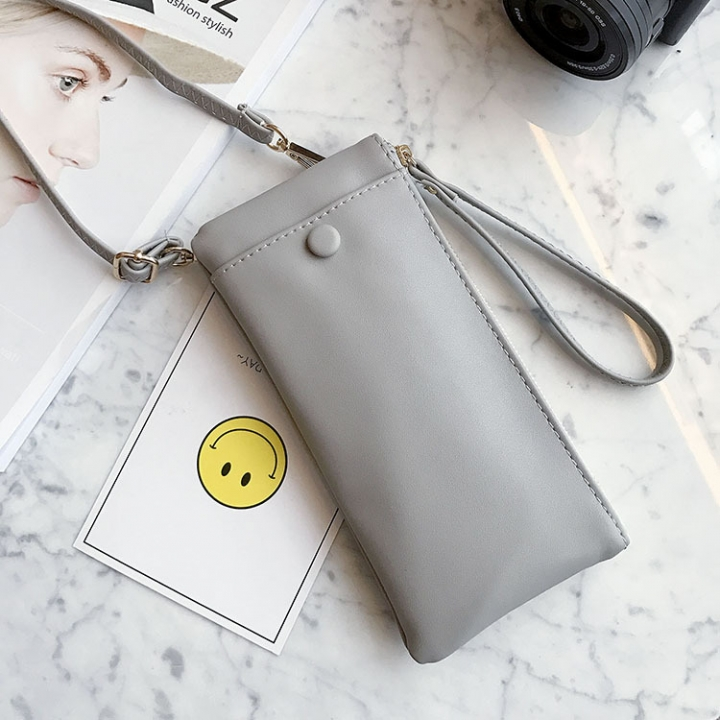 Trend Hard Money Mobile Phone Bag Multifunction Simple Messenger Bag Fashion Ms Wallet gray one size