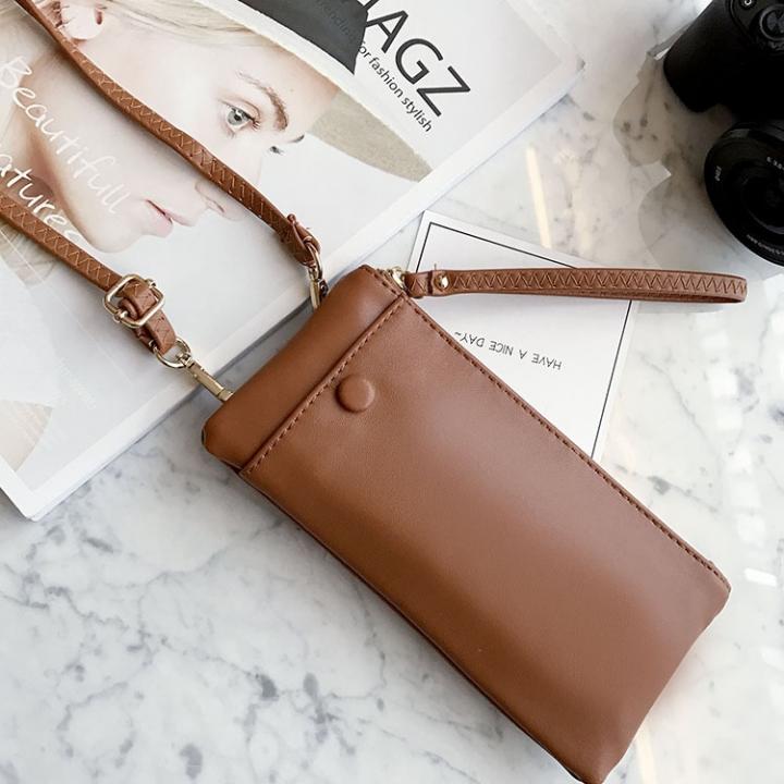 Trend Hard Money Mobile Phone Bag Multifunction Simple Messenger Bag Fashion Ms Wallet brown one size