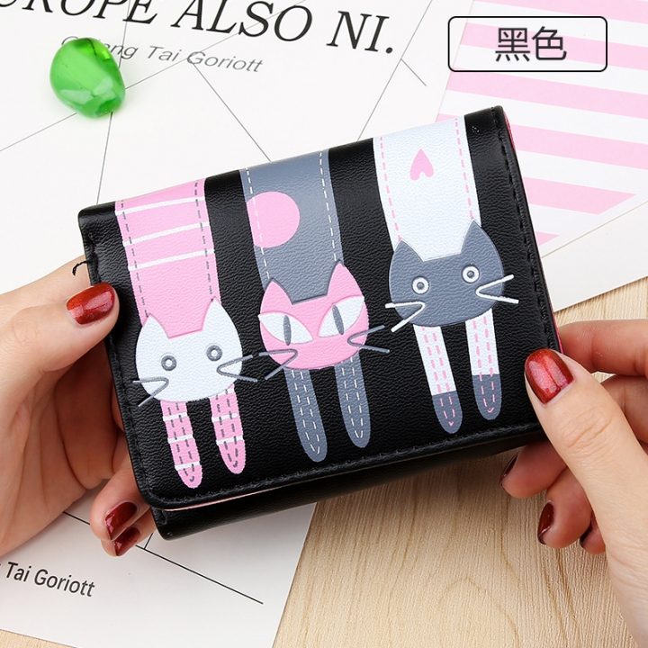 Short Section Student Wallet 3 Fold Cartoon Cat Lovely Ms Wallet Card Pack Coin Purse black one size
