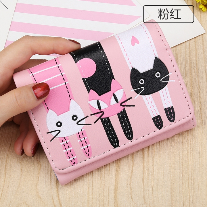 Short Section Student Wallet 3 Fold Cartoon Cat Lovely Ms Wallet Card Pack Coin Purse pink one size