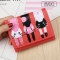 Short Section Student Wallet 3 Fold Cartoon Cat Lovely Ms Wallet Card Pack Coin Purse watermelon red one size