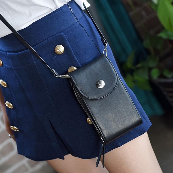 The New Lady Bags Hard Money PU Leather Mobile Phone Bag Fashion Leisure Messenger Bag black one size