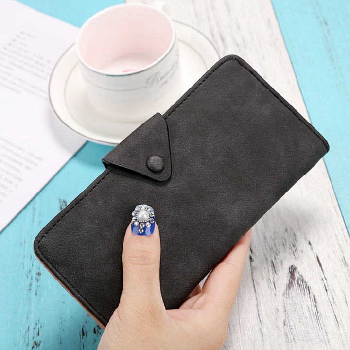 The New Ms Wallet Long Section Scrub Ultra Thin Retro Leisure Wallet Card Pack black one size