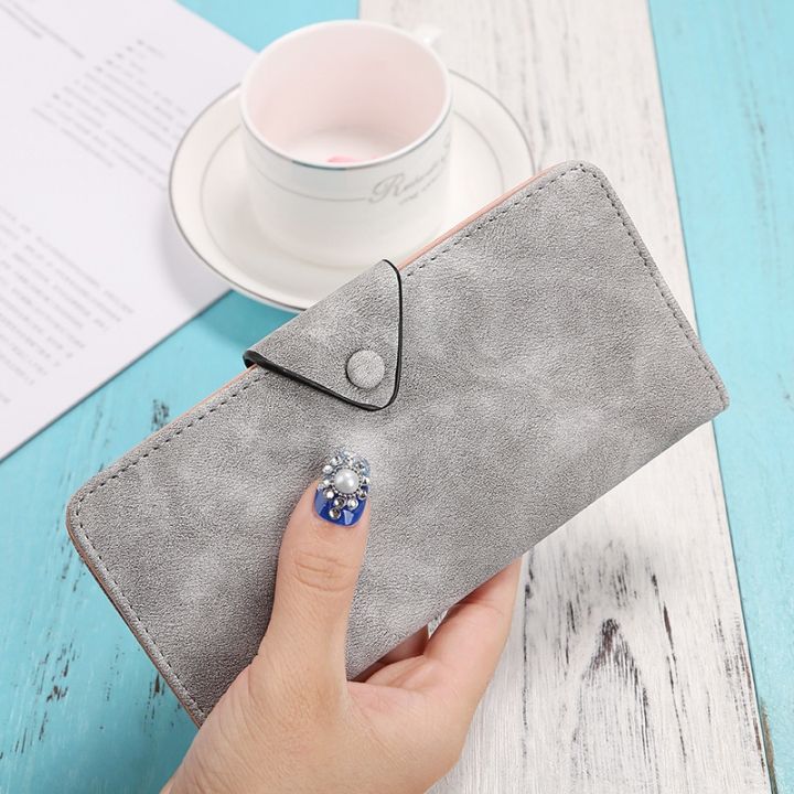 The New Ms Wallet Long Section Scrub Ultra Thin Retro Leisure Wallet Card Pack gray one size