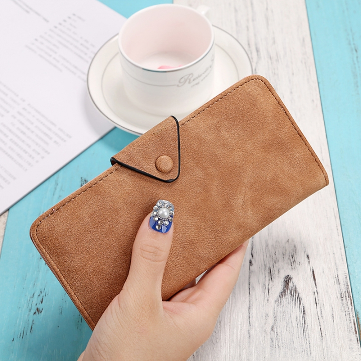 The New Ms Wallet Long Section Scrub Ultra Thin Retro Leisure Wallet Card Pack brown one size