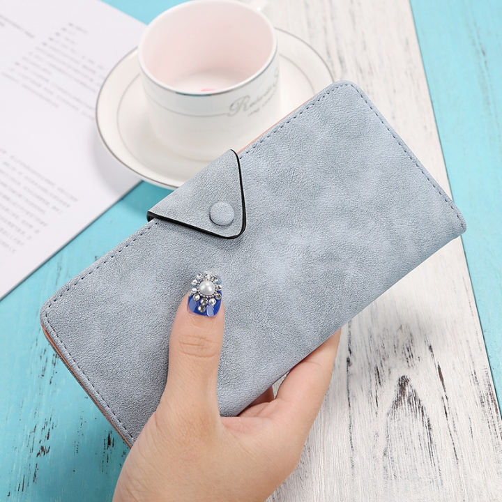 The New Ms Wallet Long Section Scrub Ultra Thin Retro Leisure Wallet Card Pack ligth blue one size