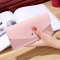 Ms Wallet Buckle Candy Colors Envelope Long Section Card Pack Mini Bag Litchi Pattern Hand Bag pink one size
