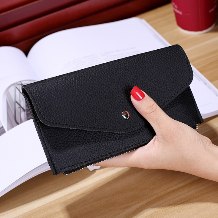 Ms Wallet Buckle Candy Colors Envelope Long Section Card Pack Mini Bag Litchi Pattern Hand Bag black one size