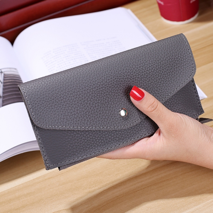 Ms Wallet Buckle Candy Colors Envelope Long Section Card Pack Mini Bag Litchi Pattern Hand Bag gray one size