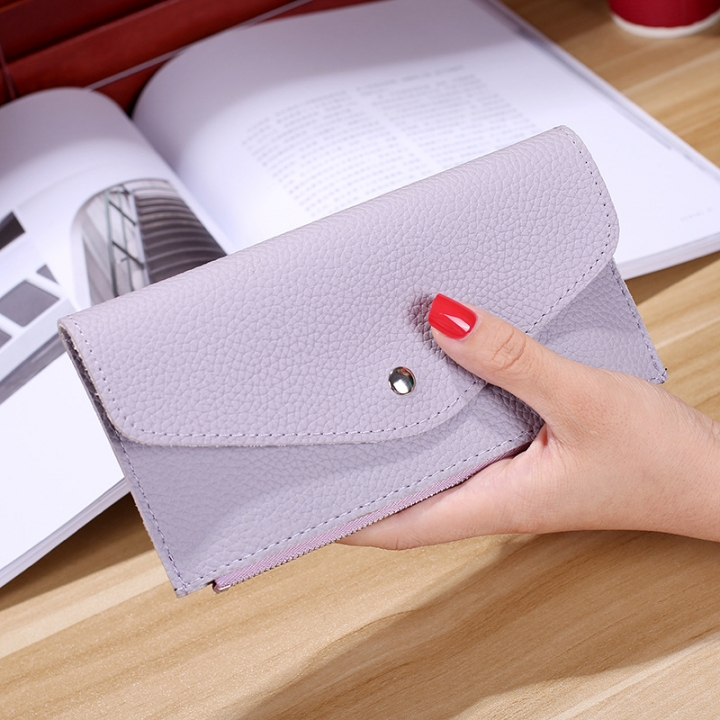 Ms Wallet Buckle Candy Colors Envelope Long Section Card Pack Mini Bag Litchi Pattern Hand Bag ligth purple one size