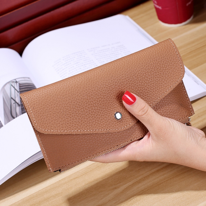 Ms Wallet Buckle Candy Colors Envelope Long Section Card Pack Mini Bag Litchi Pattern Hand Bag brown one size