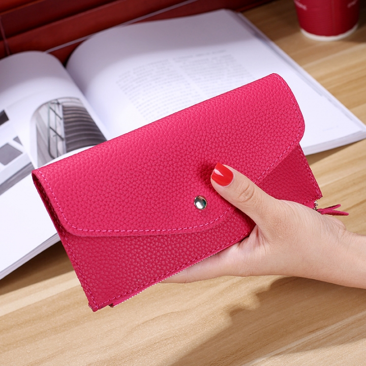 Ms Wallet Buckle Candy Colors Envelope Long Section Card Pack Mini Bag Litchi Pattern Hand Bag rose red one size