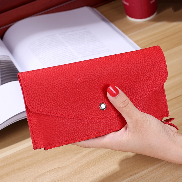 Ms Wallet Buckle Candy Colors Envelope Long Section Card Pack Mini Bag Litchi Pattern Hand Bag red one size