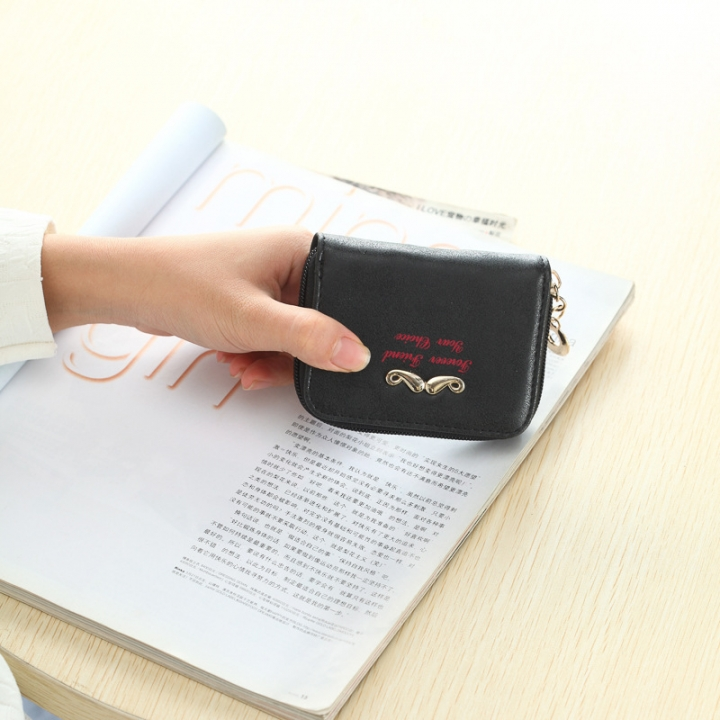 The New Wallet Short Section Ms Simple Personality Coin Purse Beard Tide Package black one size