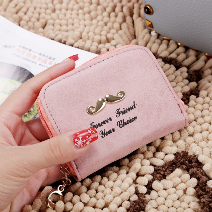 The New Wallet Short Section Ms Simple Personality Coin Purse Beard Tide Package ligth pink one size