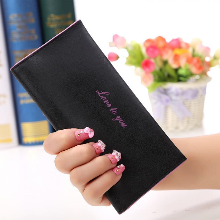 The New Ms Wallet Long Section Original Scrub Ultra Thin Retro Wallet Card Pack black one size