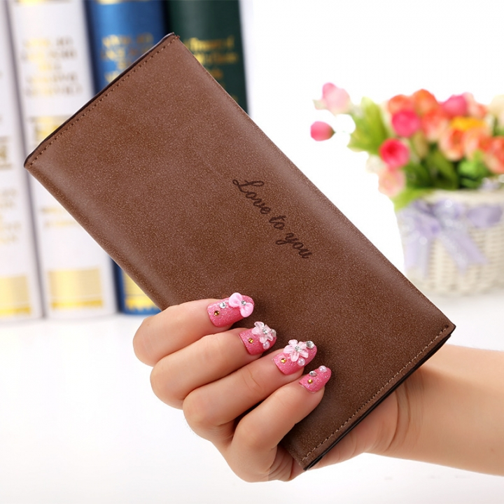 The New Ms Wallet Long Section Original Scrub Ultra Thin Retro Wallet Card Pack coffee one size