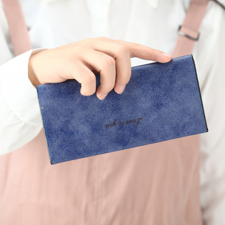 The New Ms Wallet Long Section Original Scrub Ultra Thin Retro Wallet Card Pack dark blue one size