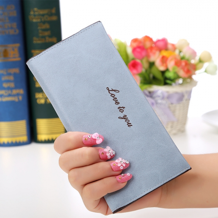 The New Ms Wallet Long Section Original Scrub Ultra Thin Retro Wallet Card Pack ligth blue one size