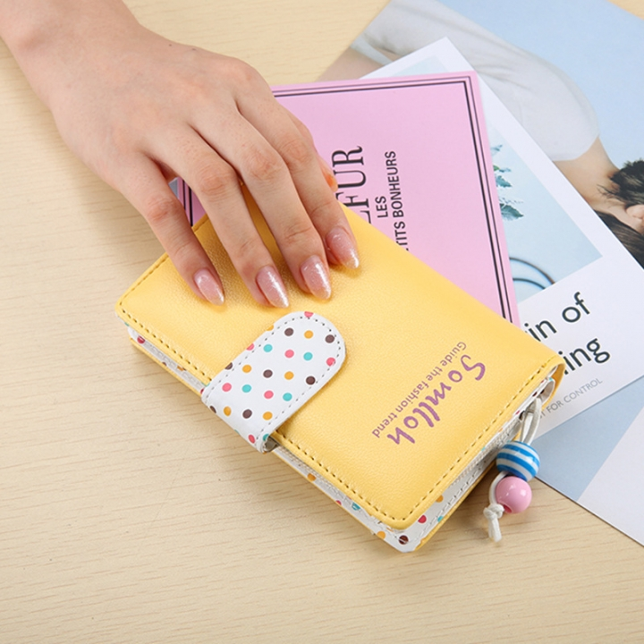 Ms Wallet The New Ladies Lovely Wave Point Fashion Leisure Wallet yellow one size