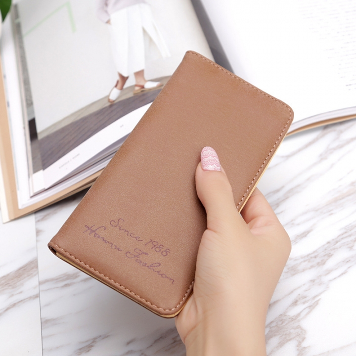 Ms Wallet Card Pack Ultra Thin Scrub Retro Fashion Leisure Student Wallet coffee one size